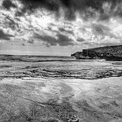 075 Storm Clouds at Maha'ulepu Beach (Black and White) L029