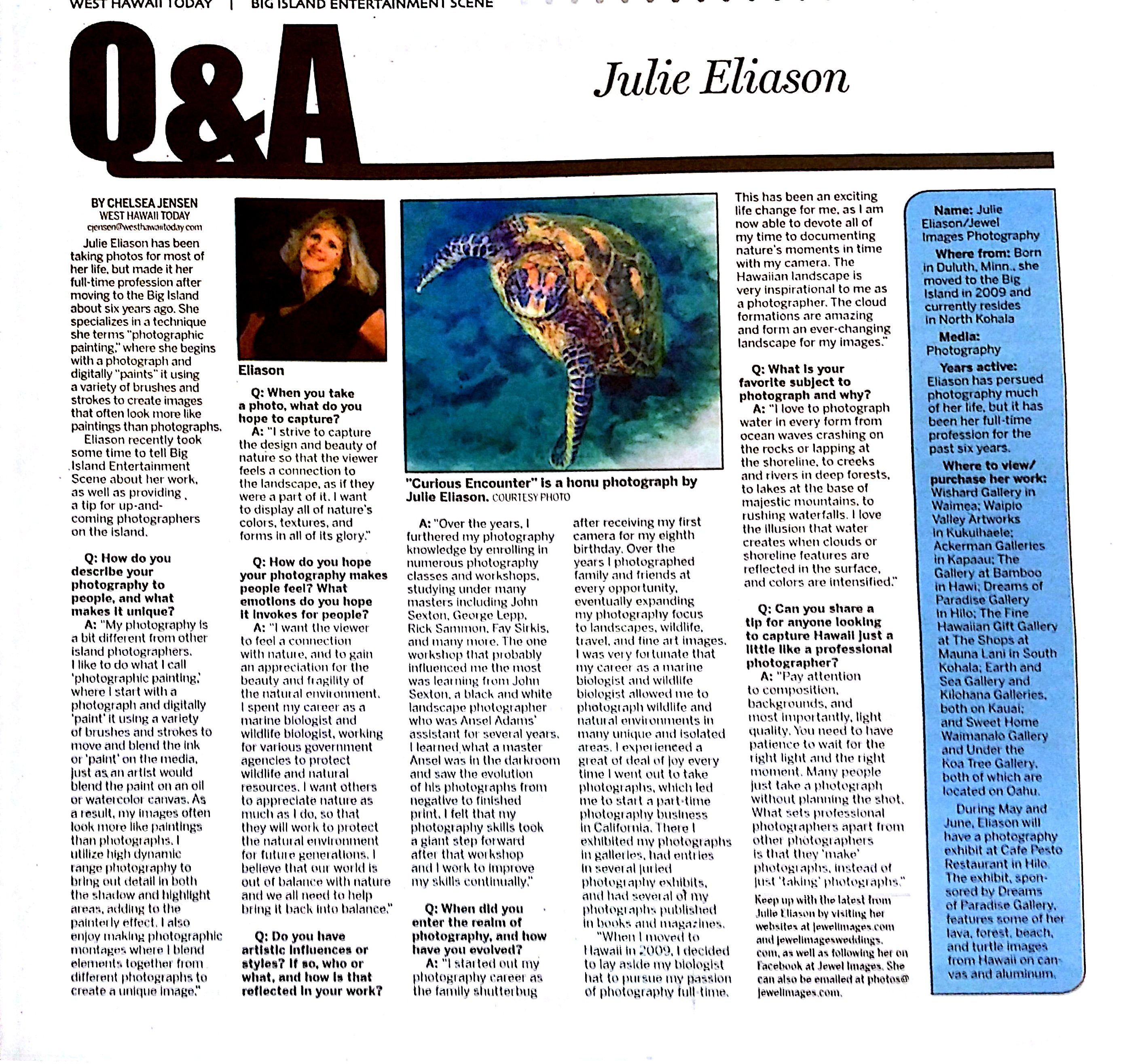 West Hawaii Today Feature Artist Julie J. Eliason